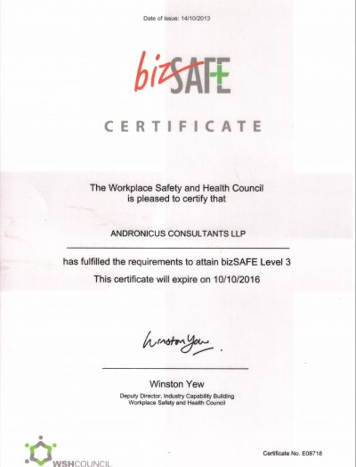 bizsafe level 3 certificate